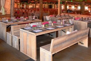 Sitzbänke und Tische der Toskana-Serie von Bilfinger ProfiMiet