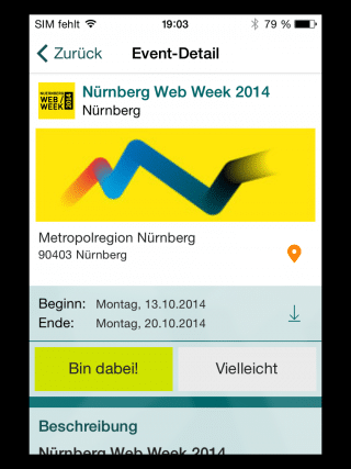 Screenshot der Event-App Xing Events