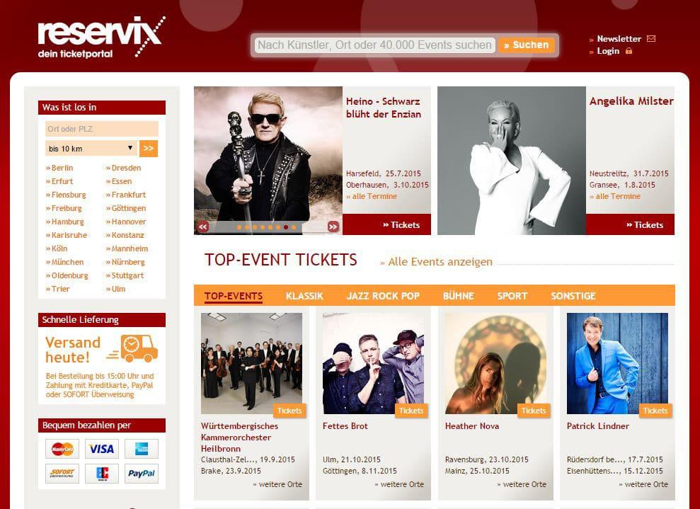 Die Website von ReserviX: www.reservix.de