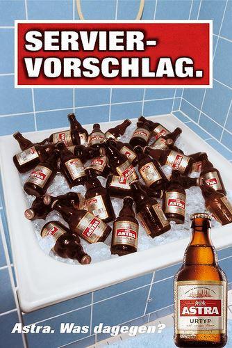 Die Kampagnen der Biermarke Astra sind rustikal, ironisch und Kult.