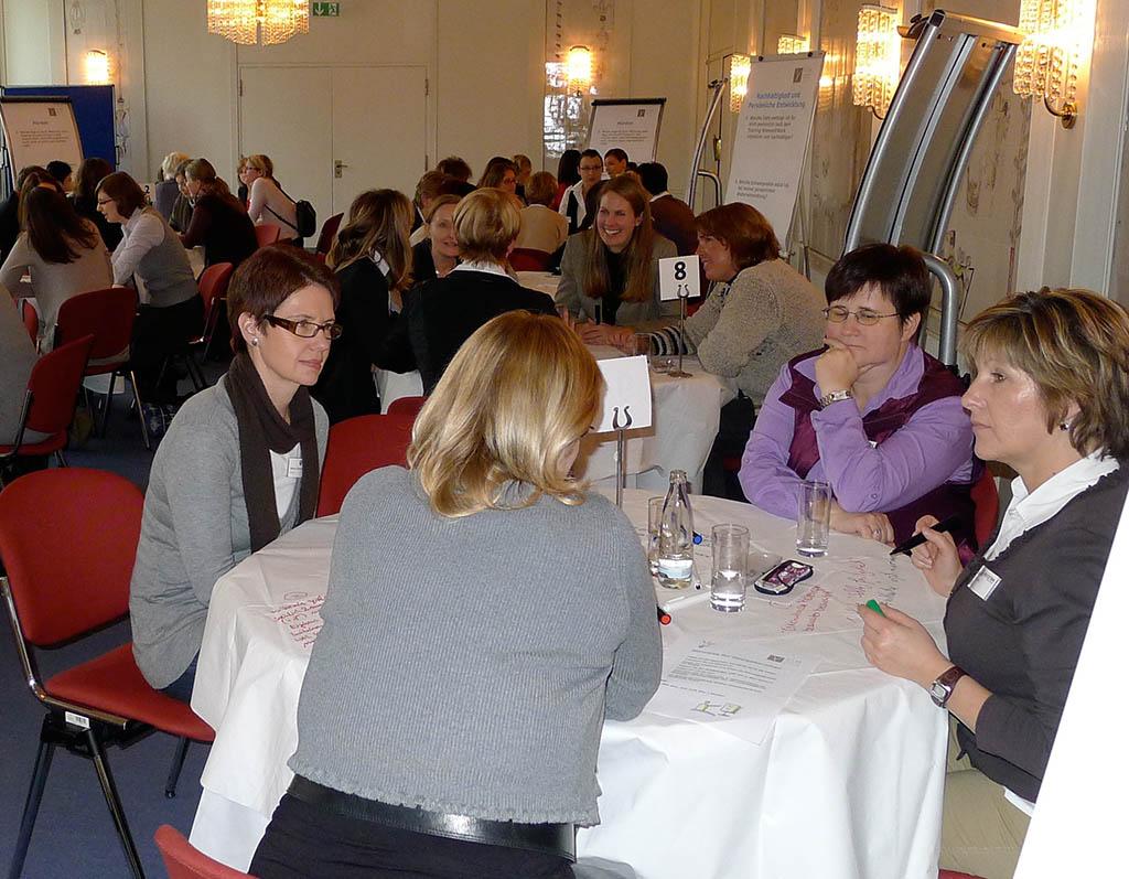 In kleinen Gruppen an den Tischen werden detaillierte Fragestellungen bearbeitet, die Teil des auf der Agenda stehenden Generalthemas sind.