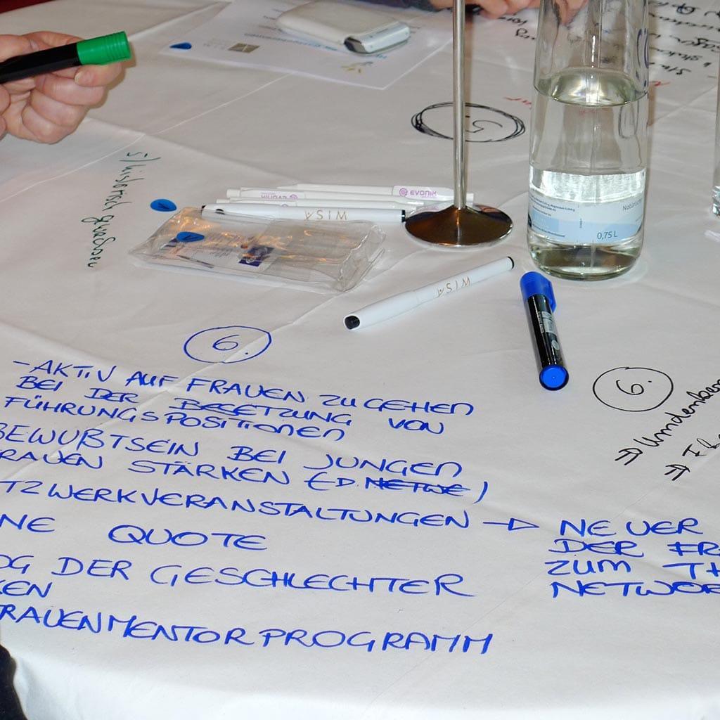 Die bemalten und beschriebenen Tischdecken werden am Ende für alle Teilnehmer zugänglich gemacht und bilden meist die Grundlage für weiterführende Diskussionen.