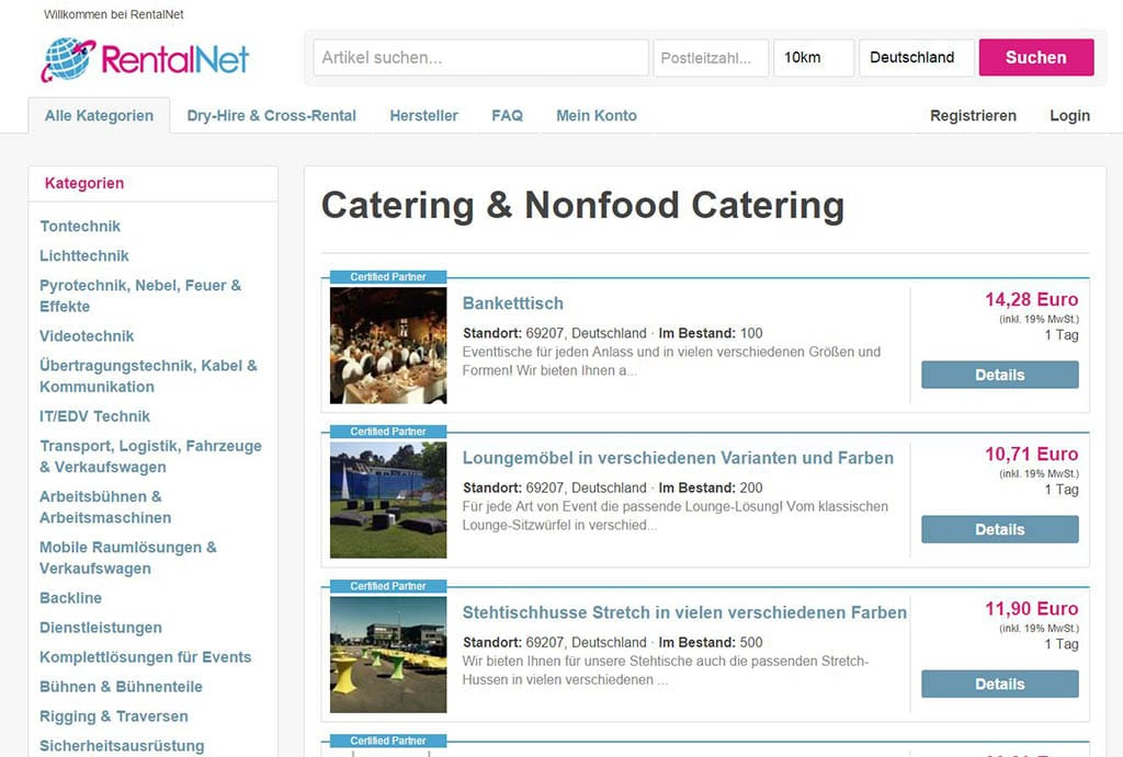 Screenshot der RentalNet Website