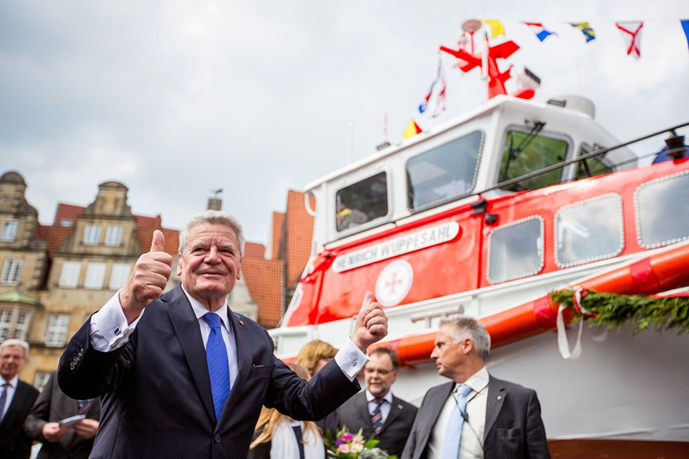 Joachim Gauck beim Jubiläum 150 Jahre Seenotretter