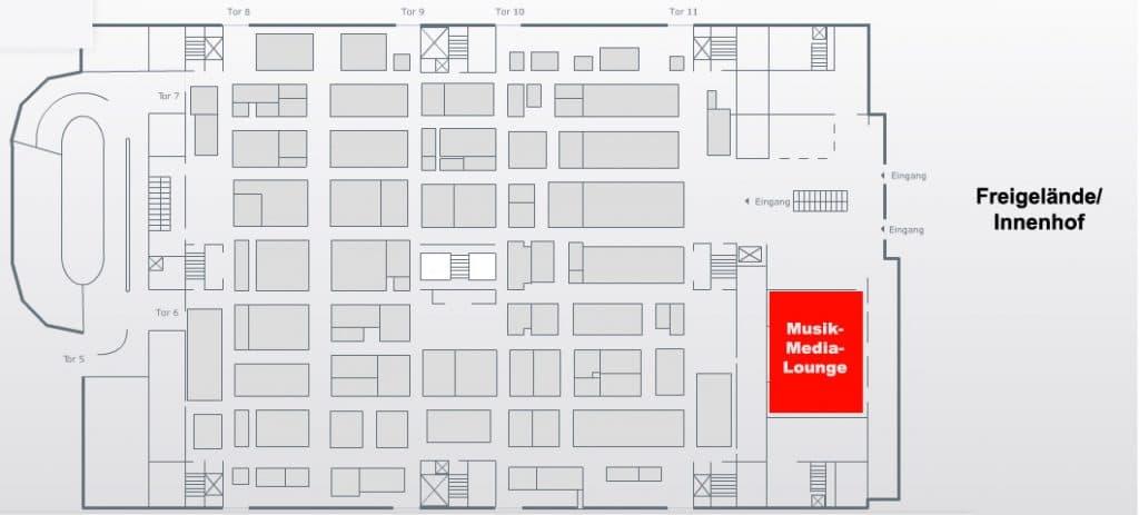 Die Musik-Media-Lounge befindet sich im Eingangsbereich der Halle 4.0.