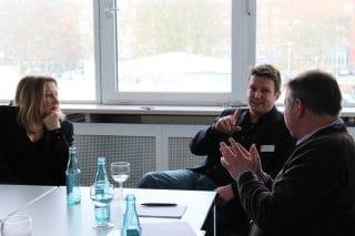 Nicole Ehm, Geschäftsführerin E.M.Works! GmbH und IgPV e.V., Alex Ostermaier, FAMAB e.V. und Geschäftsführer Neumann&Müller, sowie EVENT PARTNER Autor Falco Zanini (v.l.)