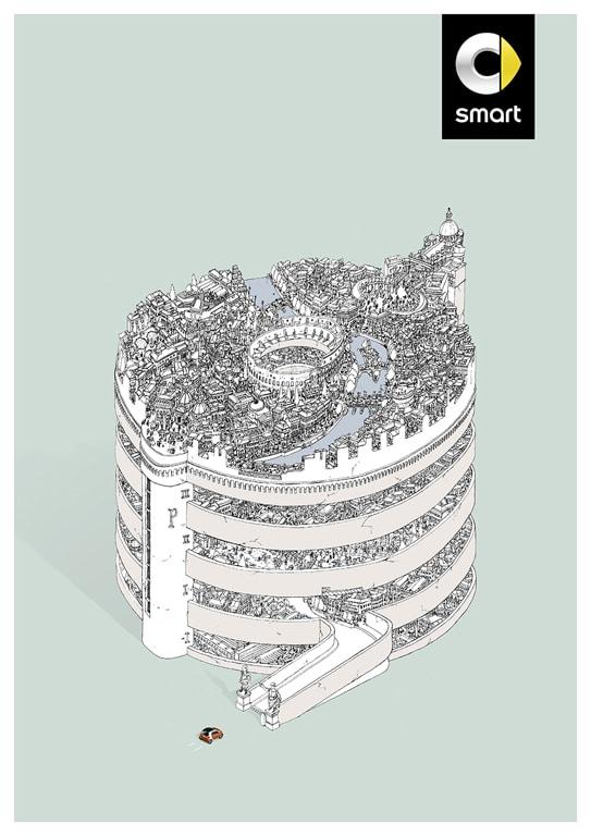 """Eines von drei Motiven der Print-Kampagne """"smart 453 for two smart Parkhäuser"""" der Agentur BBDO Berlin."""