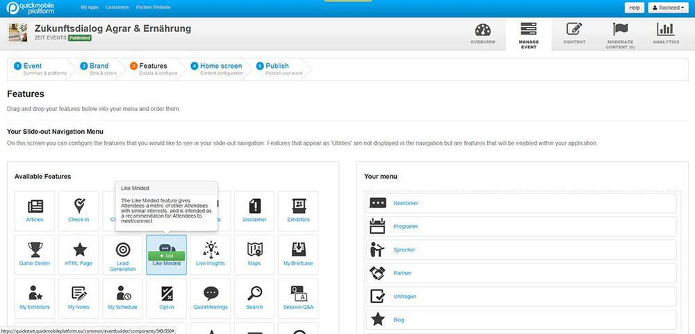 Screenshots Quickmobile