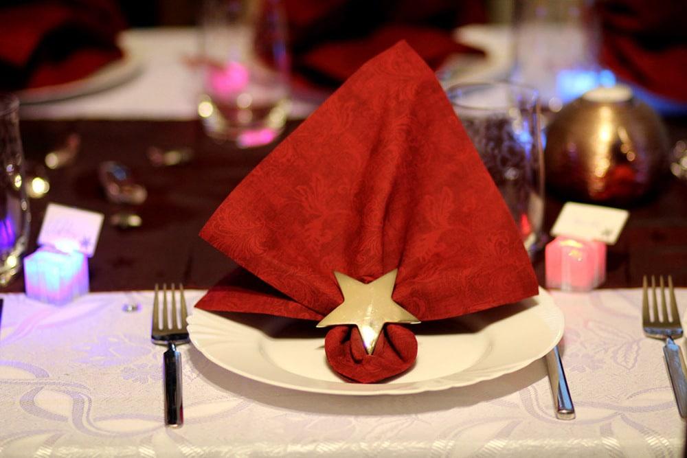 Weihnachtsdeko beim Dinner