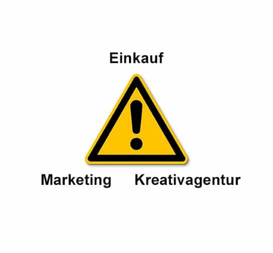 Dreieck aus Einkauf, Marketing und Kreativagentur