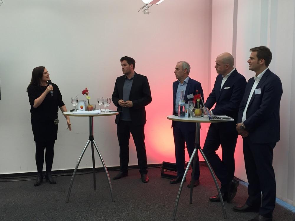 Karin Ruppert (FAMAB), Oliver Wurch (White Label Events), Dittmar Lump (Raumwelten) und Jan Kalbfleisch sowie Jörn Huber (FAMAB) bei der Pressekonferenz zum FAMAB Award 2016