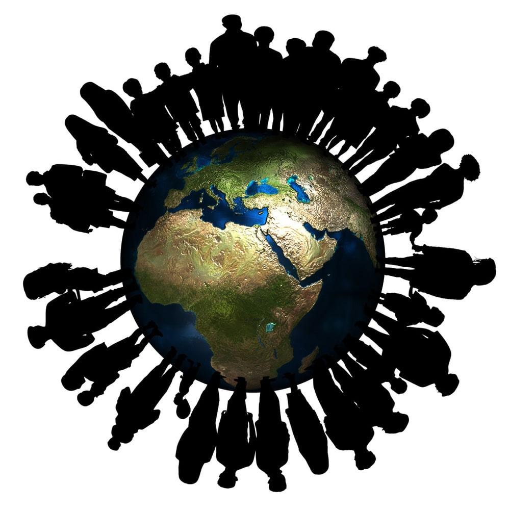 Menschenkette um Globus