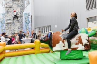 Bullenreiten und (gesichertes) Bouldern beim Windmöller&Hölscher-Sommerfest 2017