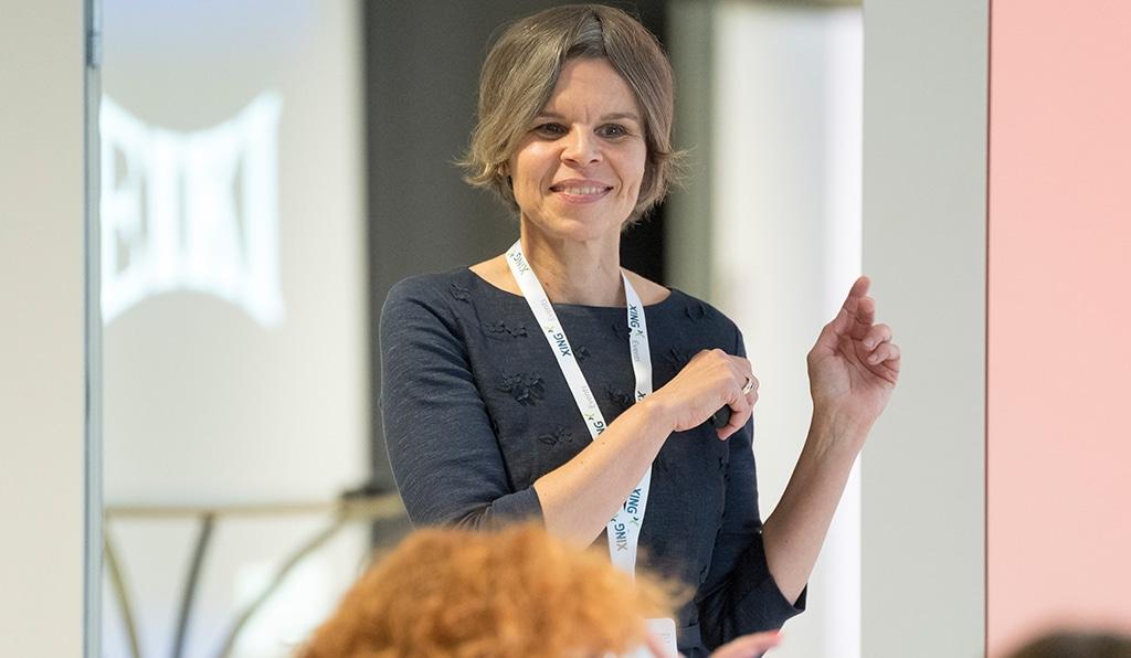 Kerstin Wünsch in Aktion während eines Vortrags auf der EVVC-Management-Fachtagung 2017.