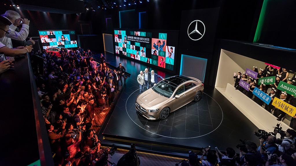 Die Präsentation der A-Klasse L Limousine von Mercedes-Benz auf der Auto China 2018.