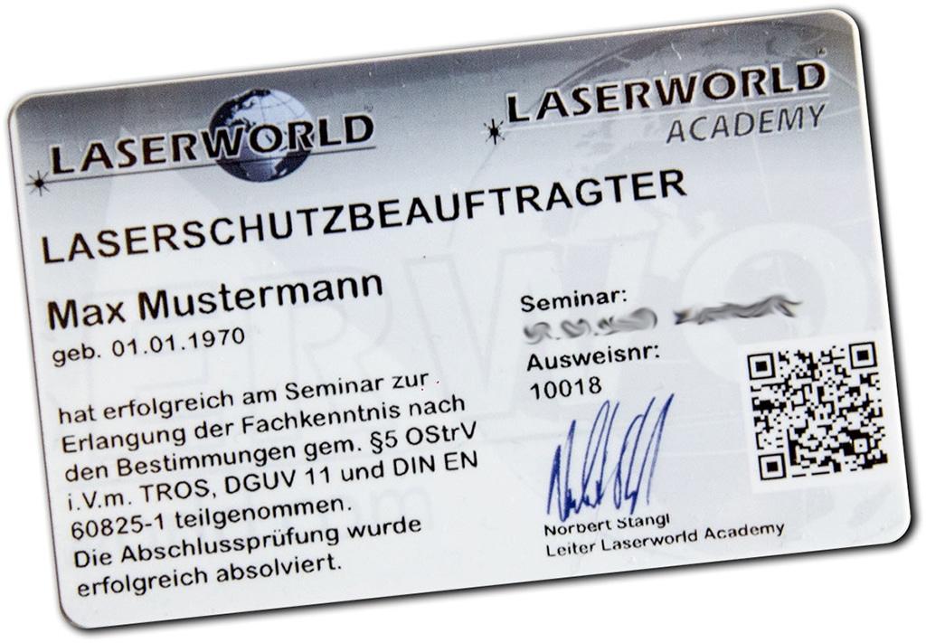 Beispielkarte für den Laserschutzbeauftragten