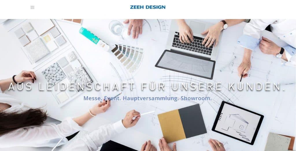 Screenshot der Zeeh Design Website