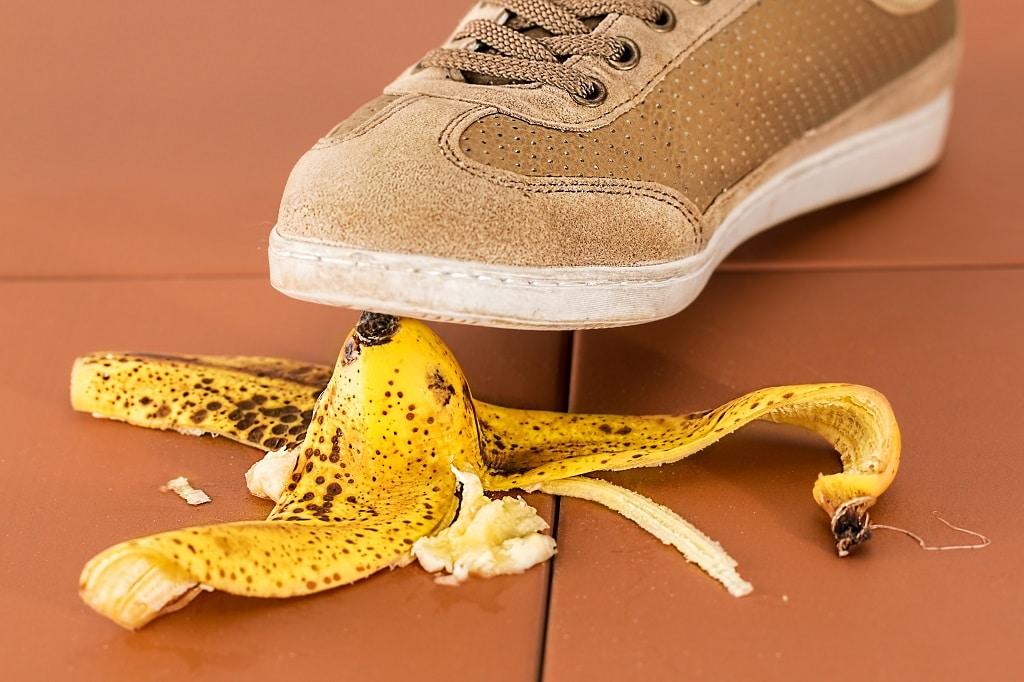 Banane-Unfall-Schuh