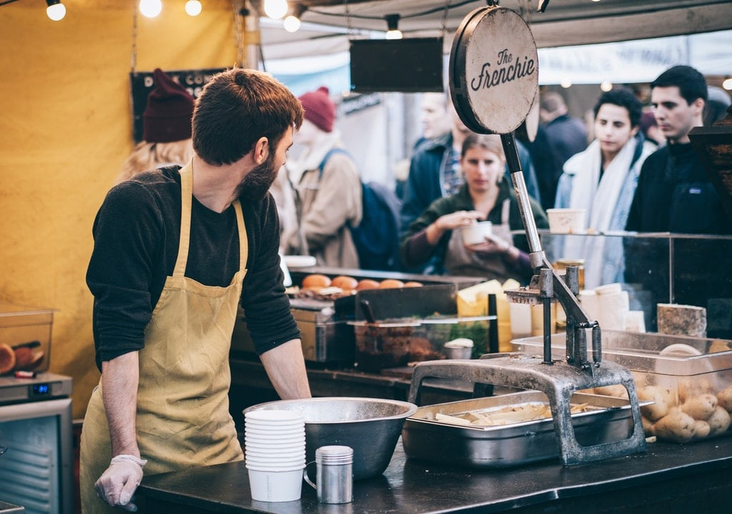 Catering-Stand-Food-Essen-Handschuhe-Koch