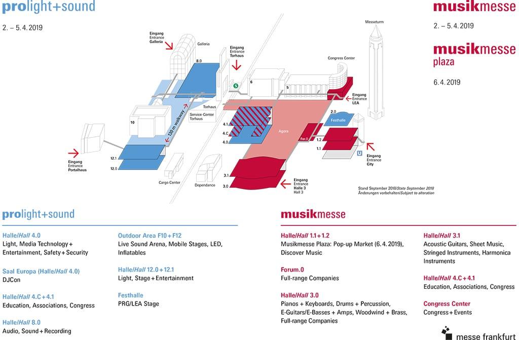 Geländeplan 2019 – Musikmesse und Prolight+Sound