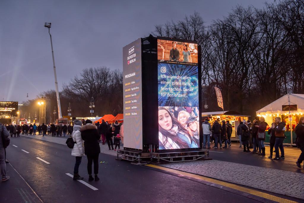 Viditower Prototyp 2018 bei der größten Silvesterparty der Republik am Brandenburger Tor in Berlin