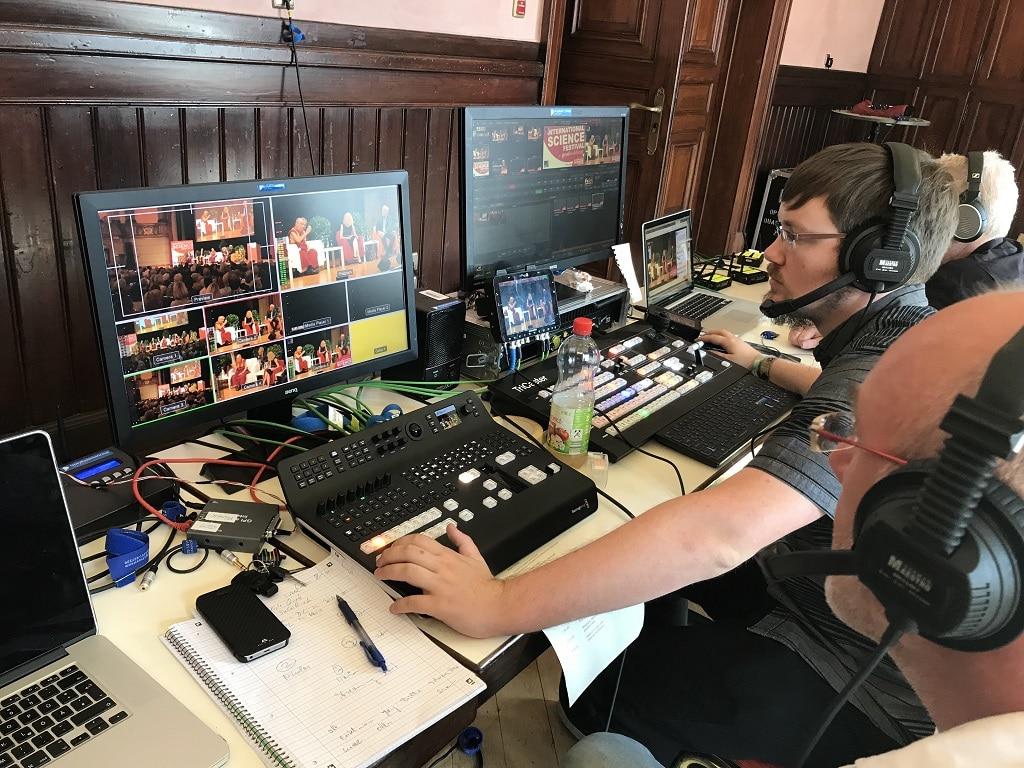 Videoregie beim Livestream des Dalai Lama beim Deutsch-Amerikanischen Institut in Heidelberg 2018
