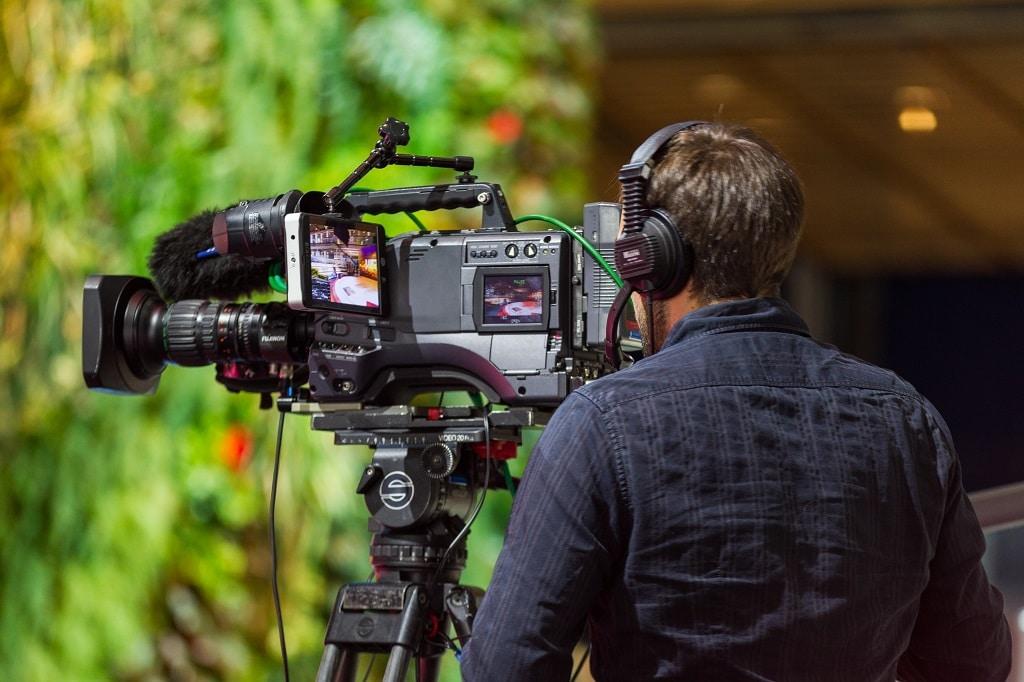 Professionelles Kamera-Setup auf dem Huawei Stand der CeBit 2018