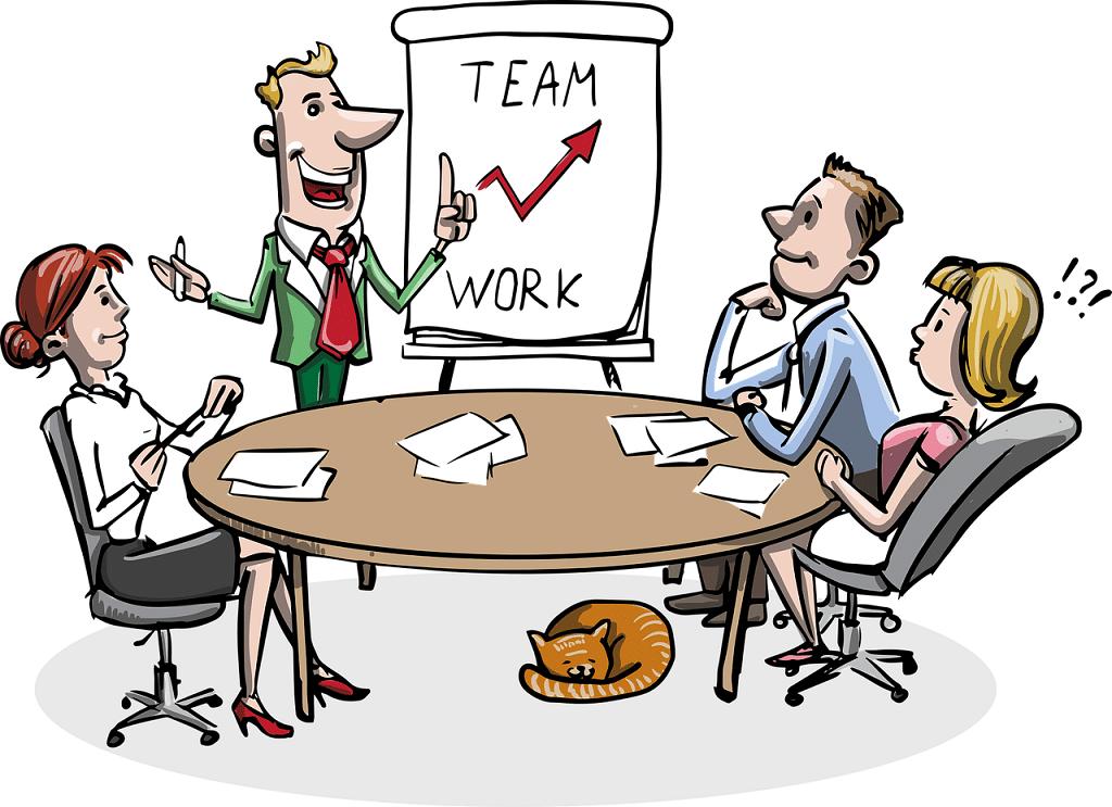 Zeichnung eines meetings über Teamwork