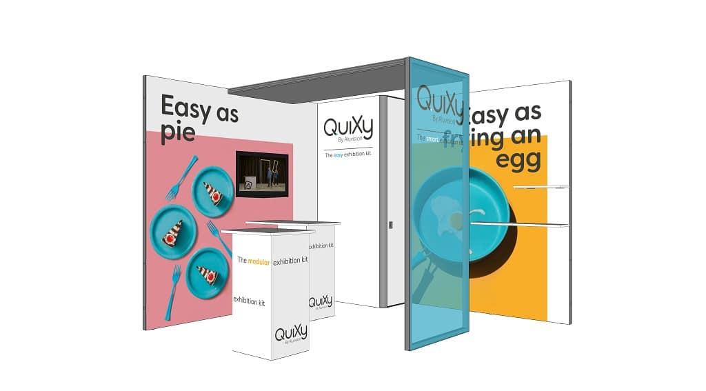 Das Standbausystem QuiXy besteht aus 20 miteinander kombinierbaren Teilen.