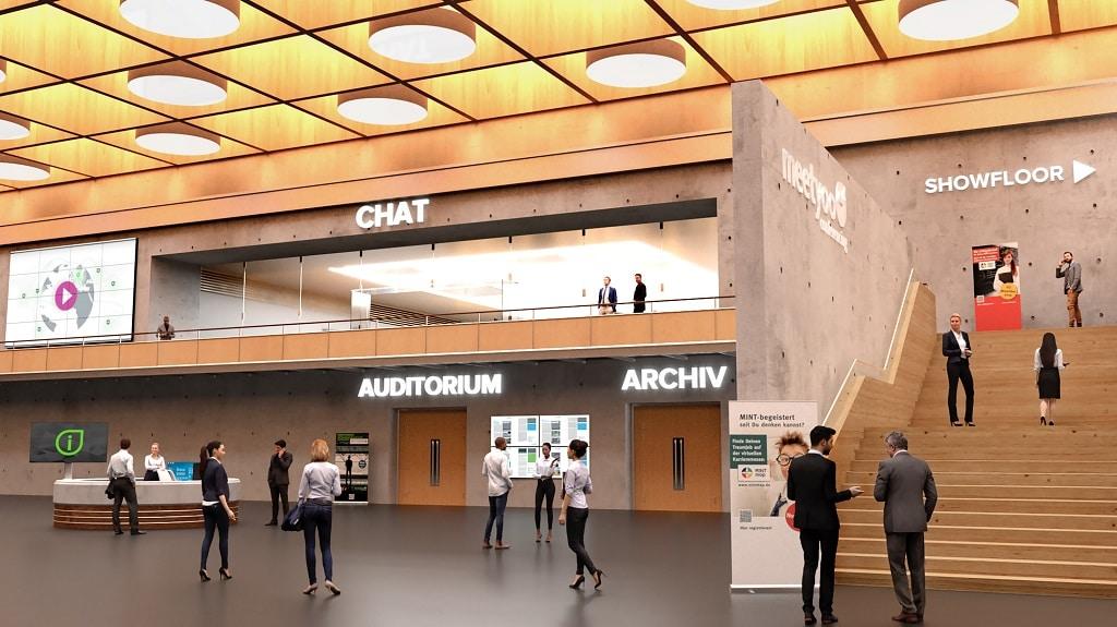 Beispiel einer virtuellen Eingangshalle mit Feature-Übersicht