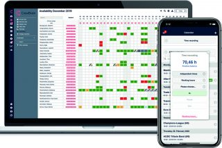 CrewBrain gibt es als Desktop-Ansicht und als App – die Mitarbeiter können ihre Zeiterfassung so direkt vor Ort erledigen.