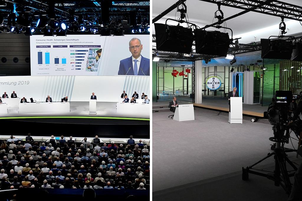 2019 fand die Hauptversammlung der Bayer AG noch als Präsenzveranstaltung im WCC Bonn statt, 2020 wurden die Aktionäre virtuell über den Screen ins Bayer AG Kommunikationszentrum eingeladen.