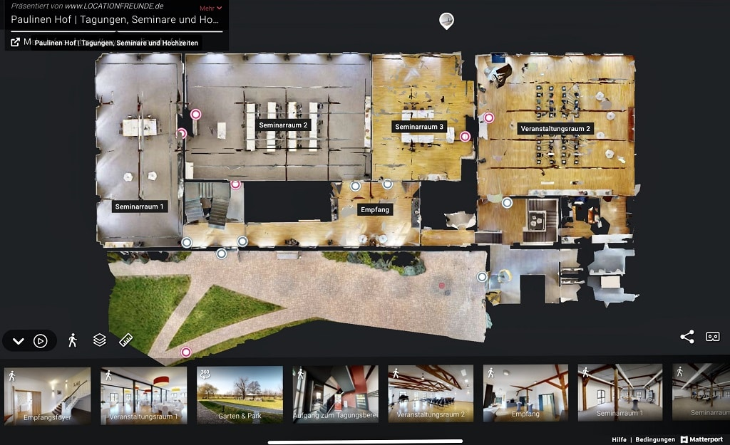 Jeder Gebäudeteil des Paulinen Hof ist nicht nur als virtueller Rundgang, sondern auch als Grundriss aufbereitet.