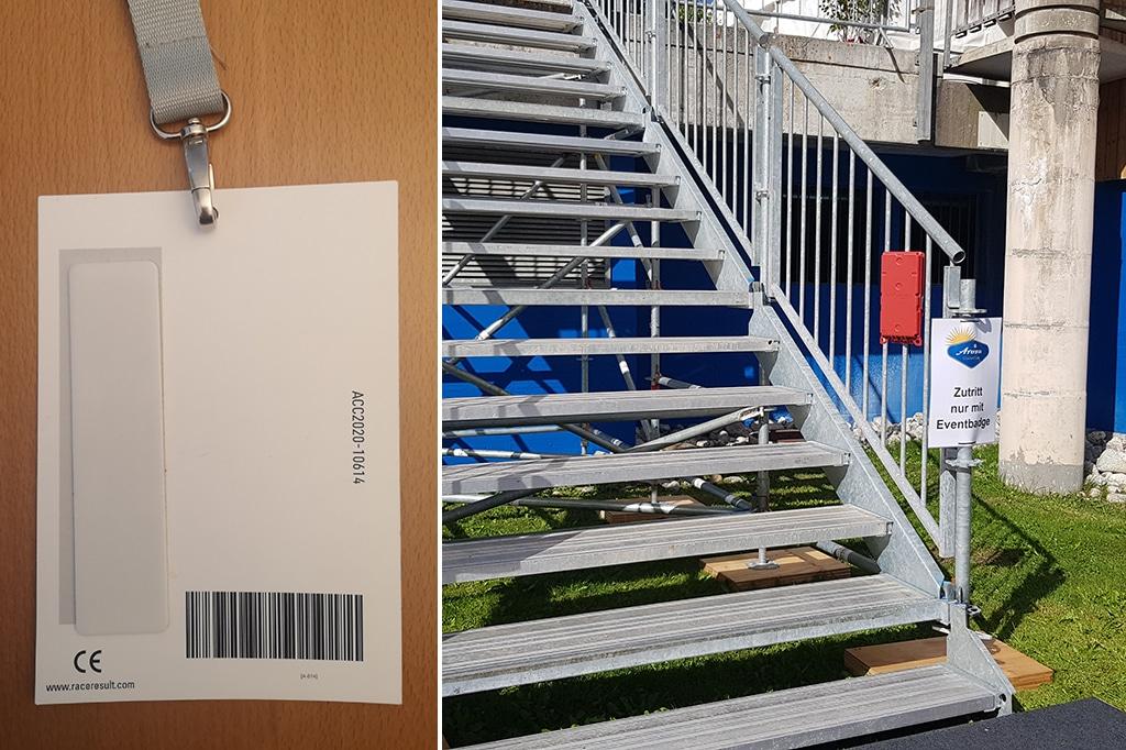 Durch RFID-Chips in den Badges und Trackboxen auf dem Gelände konnte die Anzahl der Personen innerhalb einer Zone ständig live ermittelt und an die Leitstelle weitergeben werden.