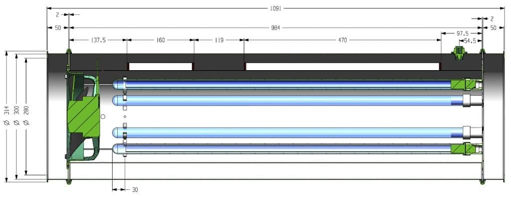 Der Prinzipielle Aufbau eines UV-C-Luft-Desinfektionsgerätes. Ein Lüfter saugt aus der Umgebung Luft an. Es können zusätzlich Filter zur Vorfilterung grober Körper angeordnet sein. Es folgt die Desinfektionskammer. Zum Abschluss können wiederum Filter angebracht sein. Es wird darauf geachtet, dass über die Ansaug- und Ausblasöffnungen keine UV-C-Strahlung das Gerät verlässt