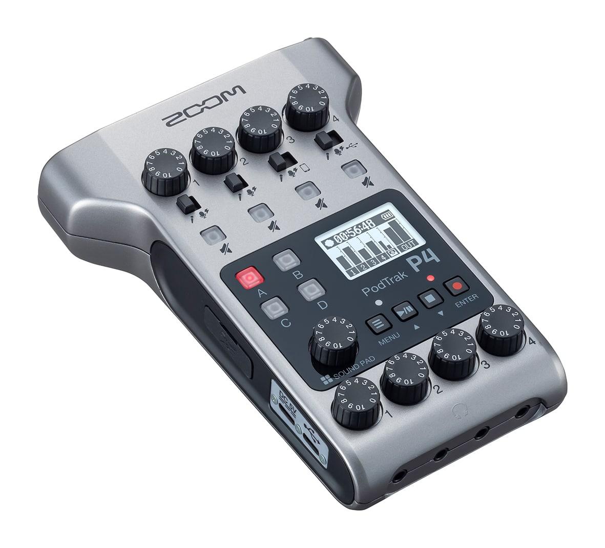 Der handliche Zoom PodTrak P4 stellt vier Mikrofoneingänge, einen Eingang für Smartphones sowie vier Soundpads bereit.
