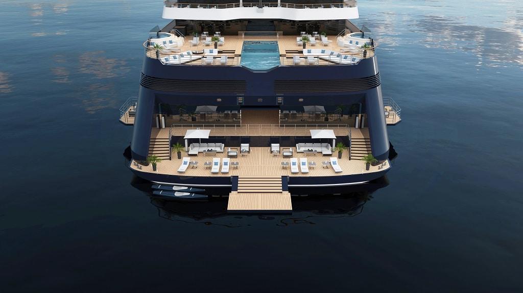 Das Heck moderner Cruise Yachts: ein Spielfeld für Eventplaner:innen